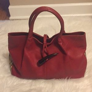 Burberry red vintage large purse